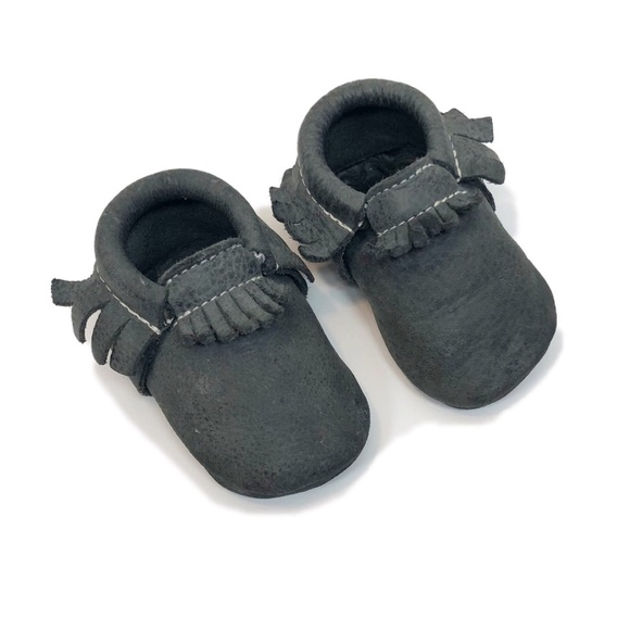 Freshly Picked Soft Sole Leather Baby Moccasins Blue Spruce Size 4